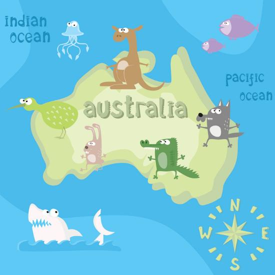 Concept Design Map of Australian Continent with Animals Drawing in Funny Cartoon Style for Kids And-Dunhill-Art Print