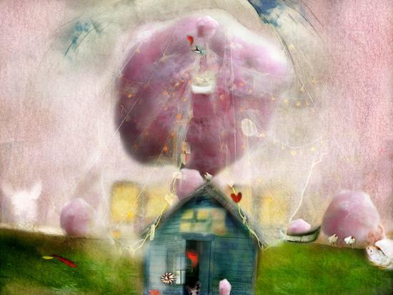 Conceptual Landscape with Cotton Candy, Animals and House- Karendivine-Photographic Print