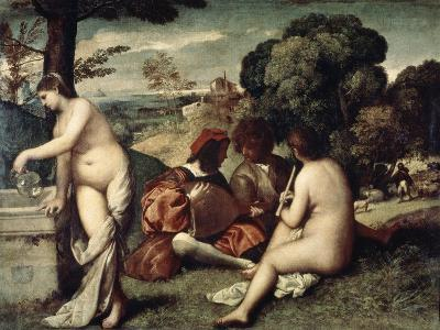 Concert Champetre, (The Pastoral Concert), C1510-1511-Titian (Tiziano Vecelli)-Giclee Print