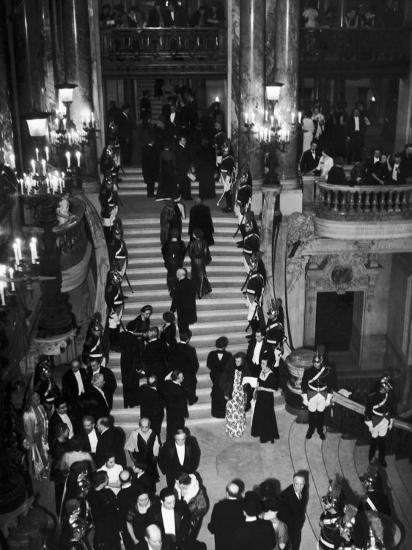 Concert-Goers Milling About on Grand Staircase of the Paris Opera House--Photographic Print