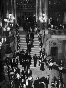 Concert-Goers Milling About on Grand Staircase of the Paris Opera House