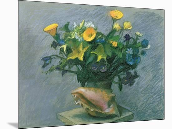 Conch & Flowers, 1989-Hans Feibusch-Mounted Giclee Print