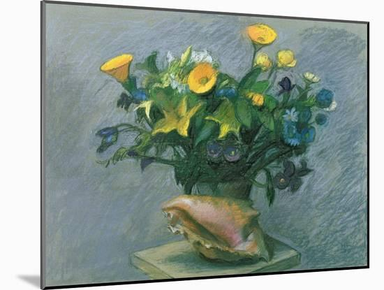 Conch & Flowers, 1989-Hans Feibusch-Mounted Premium Giclee Print