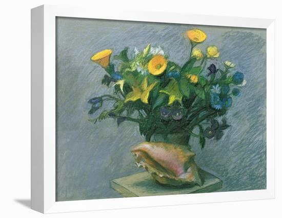 Conch & Flowers, 1989-Hans Feibusch-Framed Stretched Canvas Print