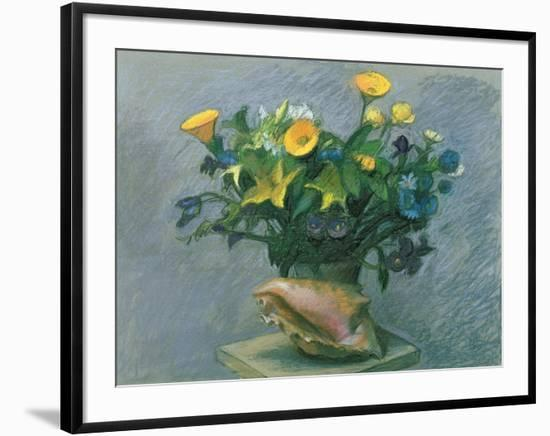 Conch & Flowers, 1989-Hans Feibusch-Framed Giclee Print