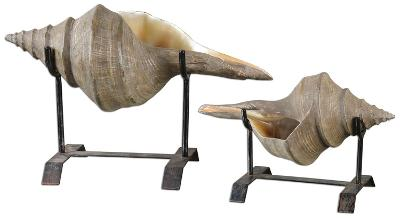 Conch Shell Sculpture Pair--Home Accessories