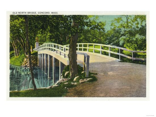 Concord, Massachusetts - View of Old North Bridge-Lantern Press-Art Print