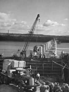 Concrete Being Poured for New Bridge over the Susquehanna River