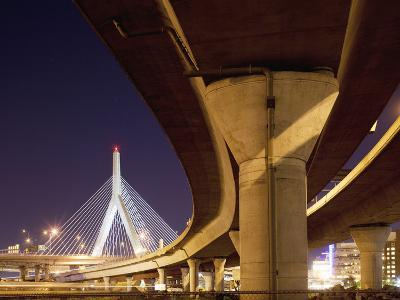 Concrete Highway Overpass and Leonard P. Zakim Bunker Hill Bridge, Boston, Massachusetts, Usa-Paul Souders-Photographic Print