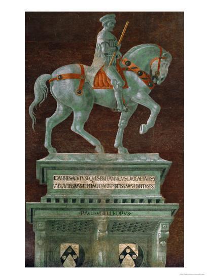 Condottiere John Hawkwood (1320-1394), Equestrian Portrait-Paolo Uccello-Giclee Print