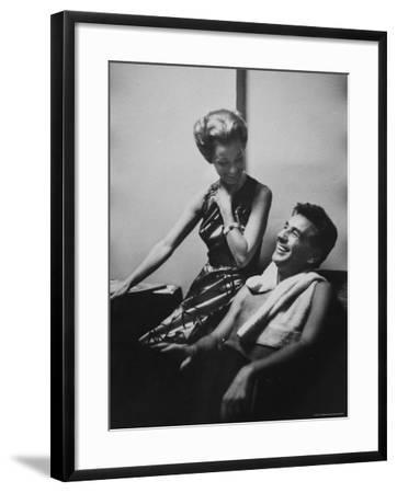 Conductor Leonard Bernstein Sitting with His Wife-Gordon Parks-Framed Premium Photographic Print