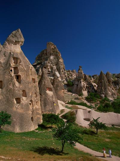 Cone Tufa Buildings, Uchisar, Cappadocia, Turkey-Walter Bibikow-Photographic Print