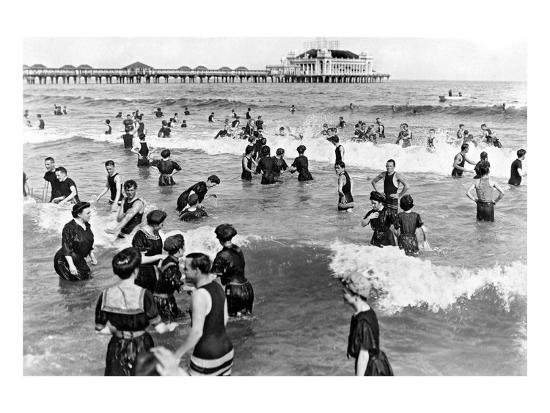 Coney Island Beach Goers-Underwood-Giclee Print