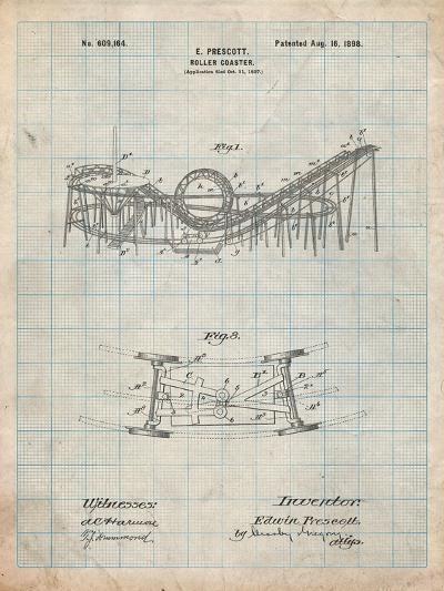 Coney Island Loop the Loop Roller Coaster Patent-Cole Borders-Art Print