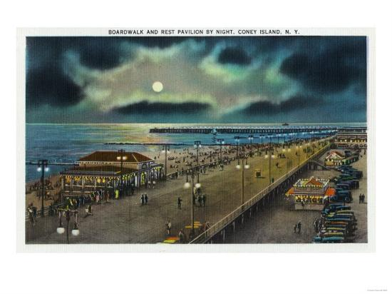 Coney Island, New York - Boardwalk and Rest Pavilion View at Night-Lantern Press-Art Print
