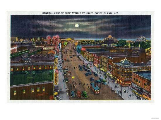 Coney Island, New York - General View of Surf Avenue at Night-Lantern Press-Art Print