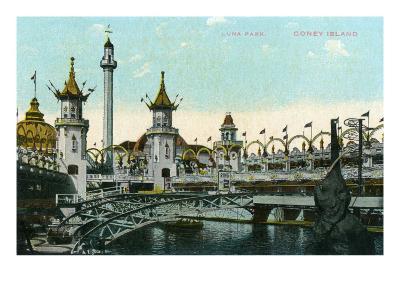 Coney Island, New York - Luna Park Scene-Lantern Press-Art Print
