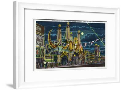 Coney Island, New York - Surf Avenue View of Luna Park Entrance at Night-Lantern Press-Framed Art Print