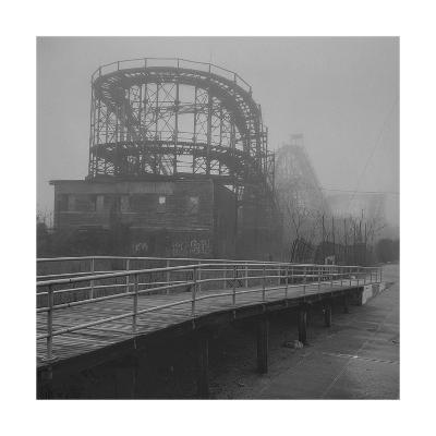 Coney Island Thunderbolt Ride Fog-Henri Silberman-Photographic Print
