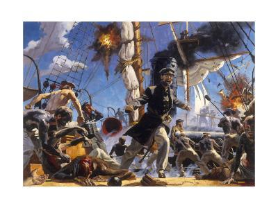Confederate C.S.S. Alabama in Battle Against Union U.S.S. Kearsarge-Gregory Manchess-Giclee Print