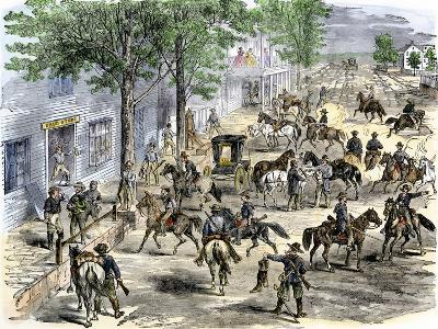 Confederate Cavalry Ransacking New Windsor, Maryland, during the Civil War--Giclee Print