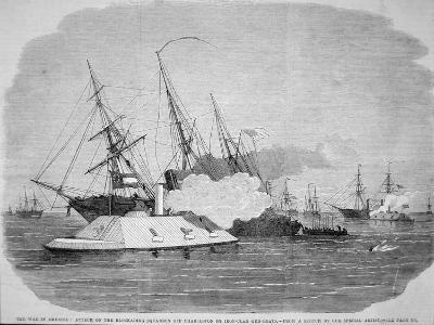 Confederate Ironclads Attack the Federal Blockade Squadron Off Charleston, 4th April 1863--Giclee Print