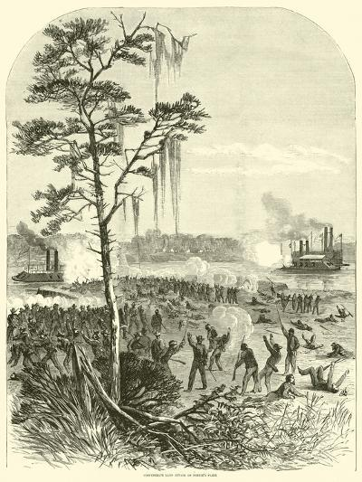 Confederate Land Attack on Porter's Fleet, April 1864--Giclee Print
