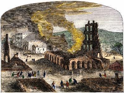 Confederate Quantrill Raid Burns Lawrence, Kansas, 1863--Giclee Print