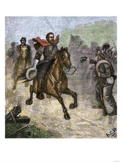 Confederate Troops Cheering at a Glimpse of General Stonewall Jackson, Us Civil War--Giclee Print