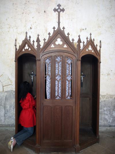 Confession Booth, La Ferte-Loupiere, Yonne, Burgundy, France, Europe-Godong-Photographic Print