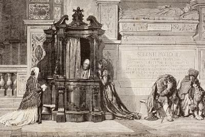 Confession in an Italian Catholic Church. 19th Century Illustration. from El Mundo Ilustrado,…--Giclee Print