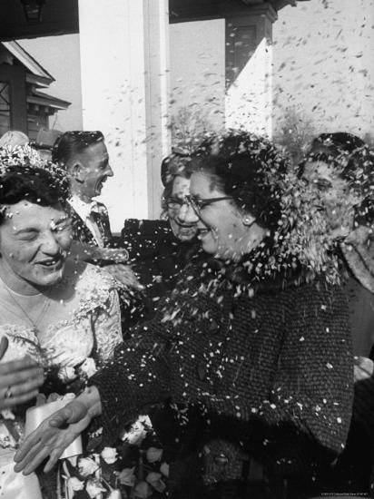Confetti Shower After Italian American Wedding-Ralph Morse-Photographic Print