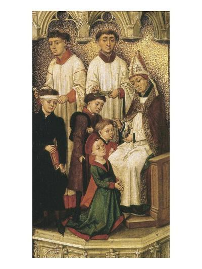 Confirmation Using Chrism or Holy Oil, from Redemption Triptych (Detail)-Rogier van der Weyden-Giclee Print