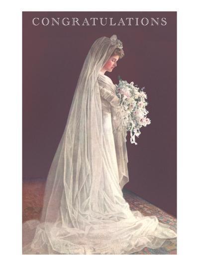 Congratulations, Bride in Gown--Art Print