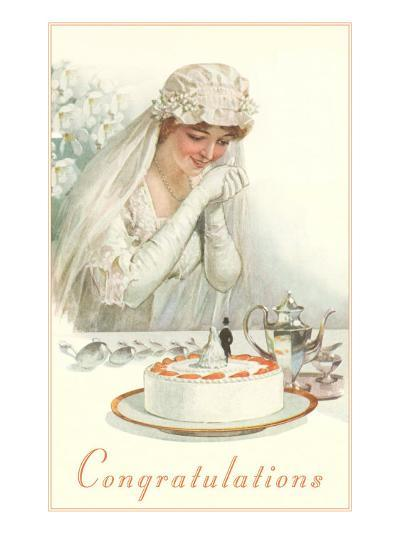 Congratulations, Bride with Cake--Art Print