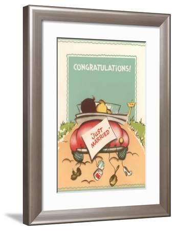 Congratulations, Just Married, Back of Car--Framed Art Print