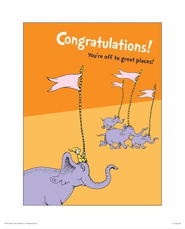 Congratulations (orange) Art Print by Theodor (Dr. Seuss ...