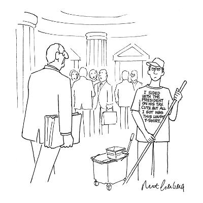Congressional employee mopping the hall wears a T-shirt that reads, 'I Sid? - New Yorker Cartoon-Mort Gerberg-Premium Giclee Print