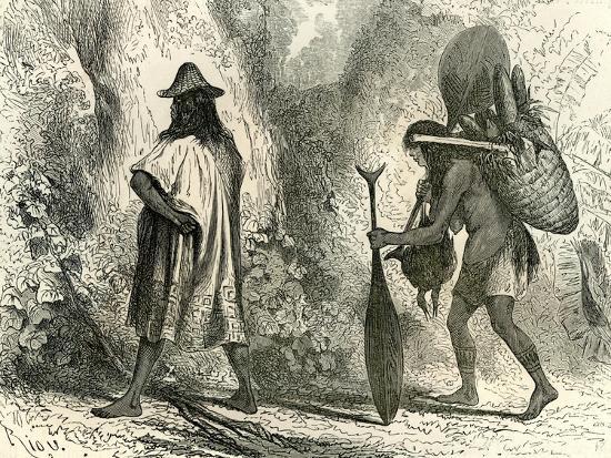 Conibos Man and Woman 1869, Peru--Giclee Print