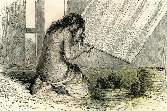 Conibos Woman Weaving 1869, Peru--Giclee Print