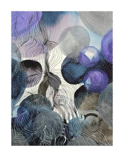 Connected Planets Blue-Helen Wells-Art Print