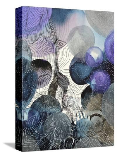 Connected Planets Blue-Helen Wells-Stretched Canvas Print