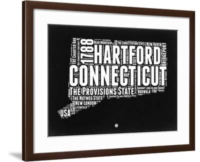 Connecticut Black and White Map-NaxArt-Framed Art Print