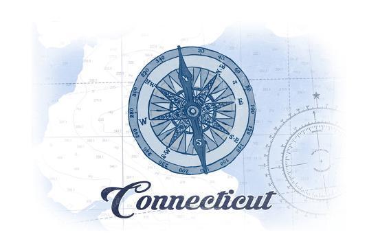 Connecticut - Compass - Blue - Coastal Icon-Lantern Press-Art Print