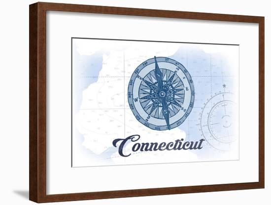 Connecticut - Compass - Blue - Coastal Icon-Lantern Press-Framed Art Print