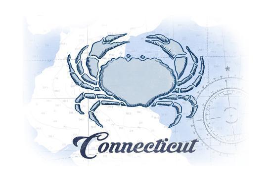 Connecticut - Crab - Blue - Coastal Icon-Lantern Press-Art Print