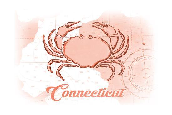 Connecticut - Crab - Coral - Coastal Icon-Lantern Press-Art Print