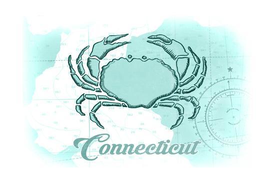 Connecticut - Crab - Teal - Coastal Icon-Lantern Press-Art Print