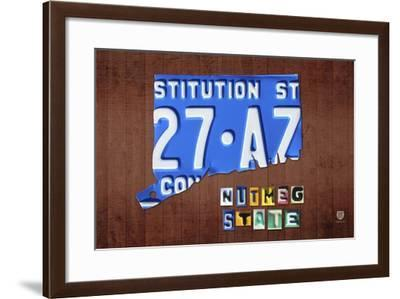 Connecticut License Plate Map-Design Turnpike-Framed Giclee Print