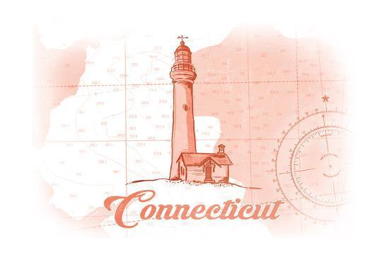 Connecticut - Lighthouse - Coral - Coastal Icon-Lantern Press-Art Print